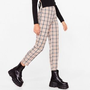 NASTYGAL | NWT Plaid High Waisted Trouser Pants